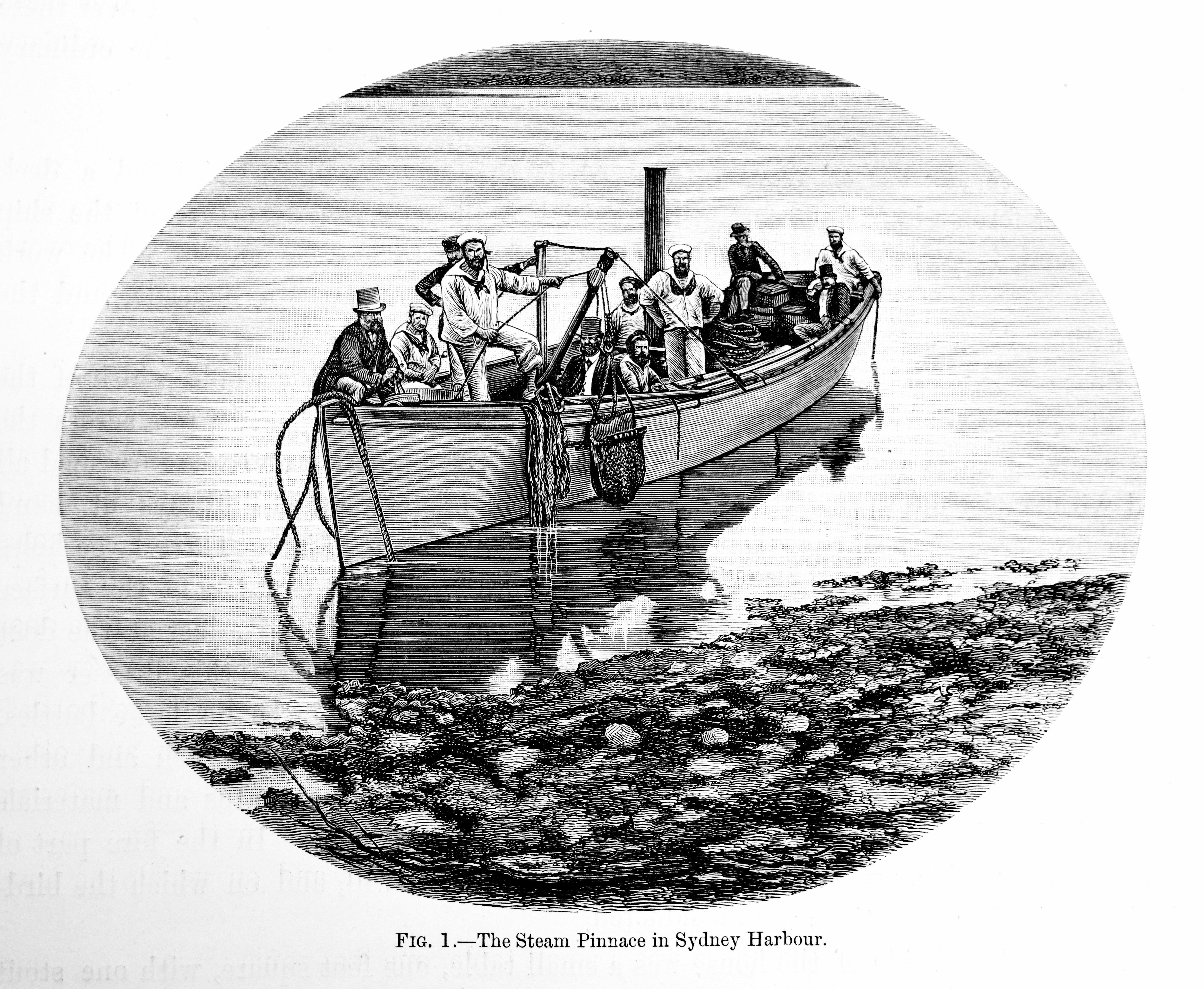 The dredge could also be dragged behind the Challenger's steam pinnace.