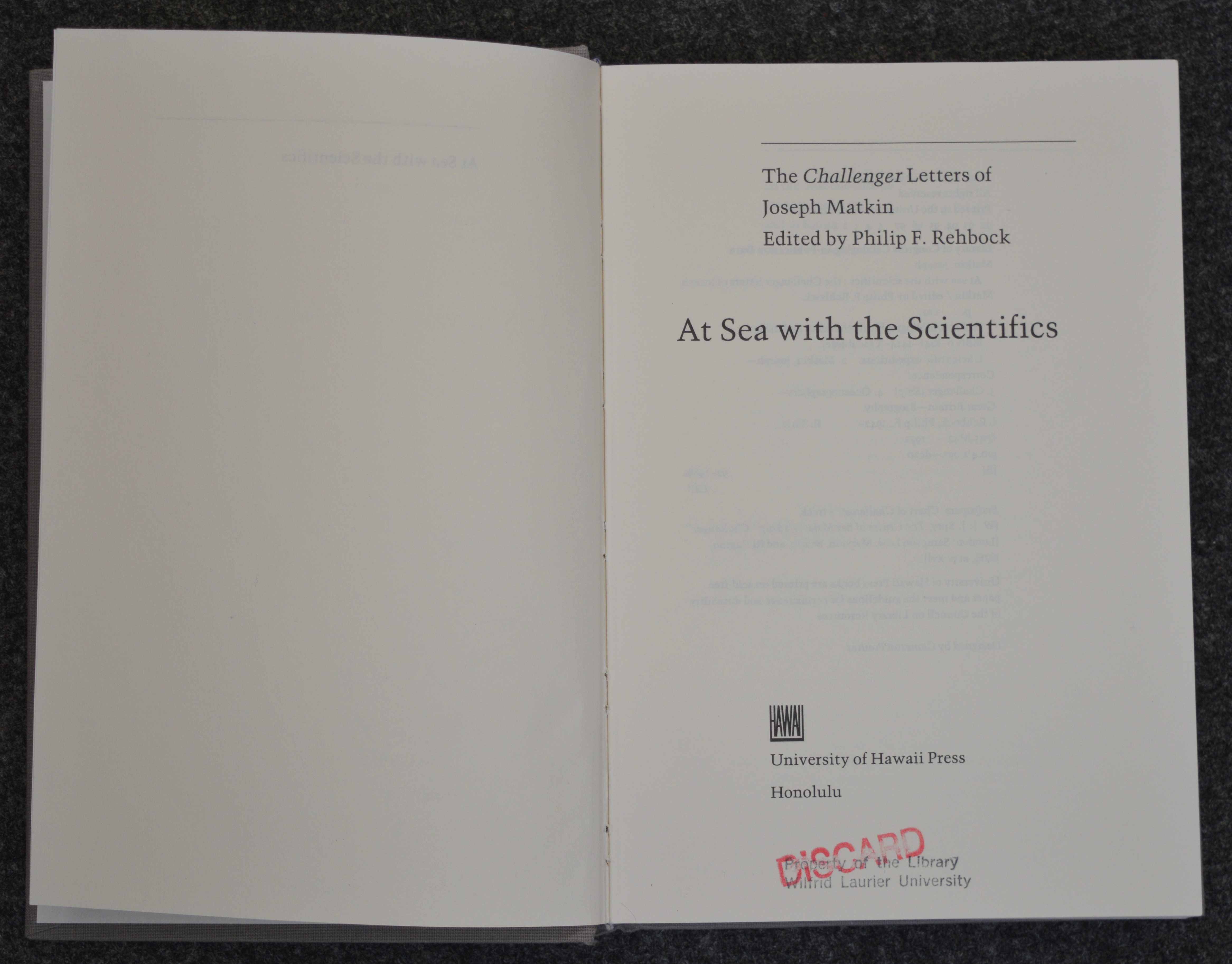 At Sea with the Scientifics by Philip Rehbock
